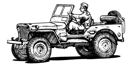 forage: Vector drawing of army jeep stylized as engraving