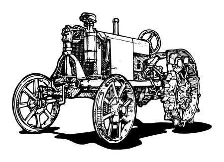 tractor in field: Vector drawing of tractor stylized as engraving