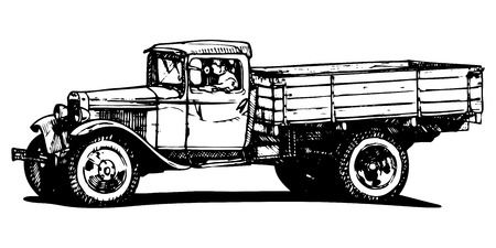 Vector drawing of vintage truck stylized as engraving