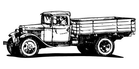 Vector drawing of vintage truck stylized as engraving Zdjęcie Seryjne - 24530841