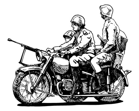 Vector drawing of motorcycles stylized as engraving