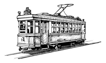 tramway: Disegno vettoriale di tram stilizzata come incisione