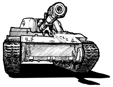 Vector drawing of heavy tank stylized as engraving  Vector