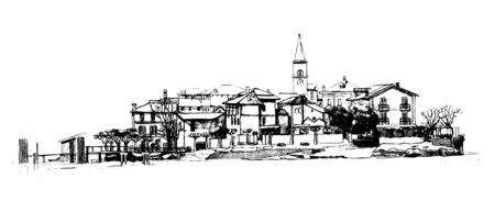 Drawing of  Isola dei Pescatori  lit  Fishermen's Island  is an island of Lago Maggiore in northern Italy