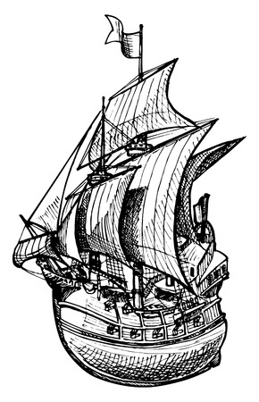 Vector drawing of sailing ship stylized as engraving