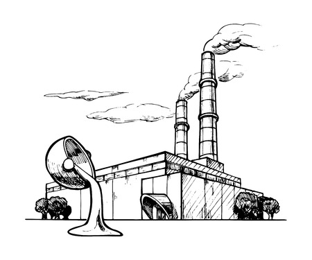 smoke stack: Vector drawing of casting plant stylized as engraving
