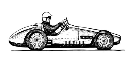 Vector drawing of formula 1 racing car stylized as engraving. Vector