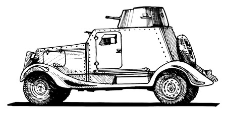 armored car: Vector drawing of armored car stylized as engraving.
