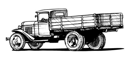 Vector monochrome retro lorry isolated on white background. Zdjęcie Seryjne - 24560038