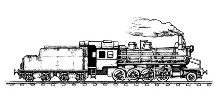 Vector drawing of train stylized as engraving