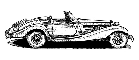 Vector drawing of retro convertible stylized as engraving  Ilustracja