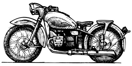 Vector drawing of motorcycle stylized as engraving   イラスト・ベクター素材