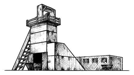 gravure: Vector drawing of mine  stylized as engraving  Exterior