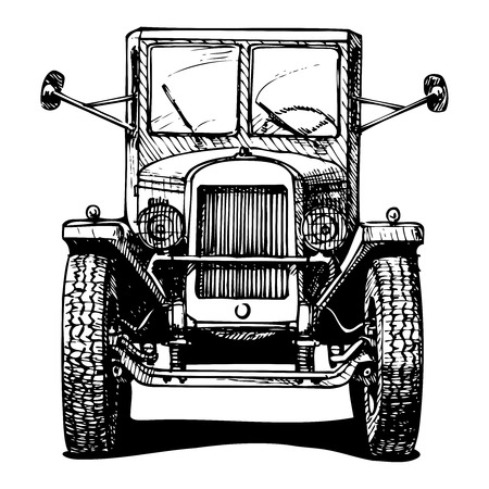 frontal view: Vector retro car isolated on white  Black and white illustration