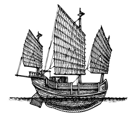 gravure: vector illustration of a junk stylized as engraving  Illustration
