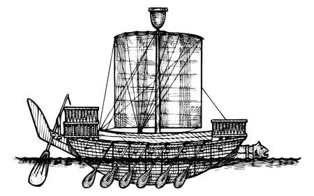 gravure: Vector vintage illustration of Egyptian boat