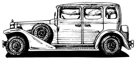 Vector tekening van oldtimers gestileerd als graveren Exterior