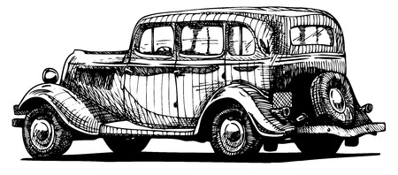 Vector drawing of vintage car  stylized as engraving  Exterior   Ilustracja