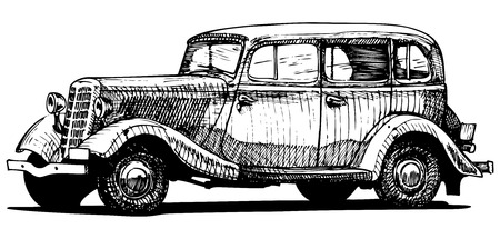 draft: Vector drawing of vintage car  stylized as engraving  Exterior   Illustration