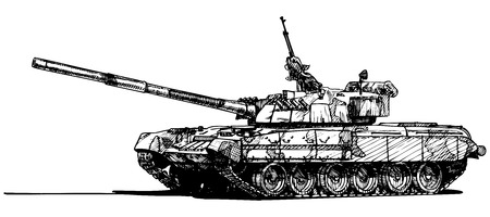 wartime: Vector drawing of heavy tank  stylized as engraving