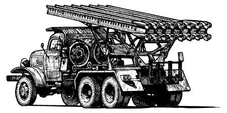 Vector drawing of Katyusha stylized as engraving  Vector