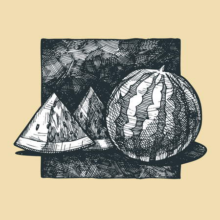 slit: Icon of water-melon illustration stylized as engraving.
