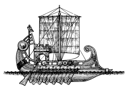 trireme: vector illustration of a antique ship stylized as engraving. Illustration