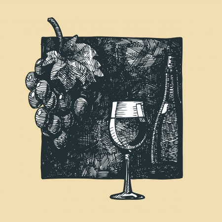 facer: Wine glass and vine illustration stylized as engraving. Illustration