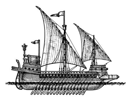 Vector drawing of Galley stylized as engraving. Illustration