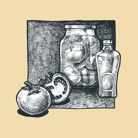 gravure: Illustrazione vettoriale di un pomodoro stilizzata come incisione