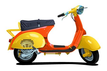 vespa piaggio: vettoriale illustrazione a colori di motorino di semplici sfumature solo - nessuna sfumatura delle maglie
