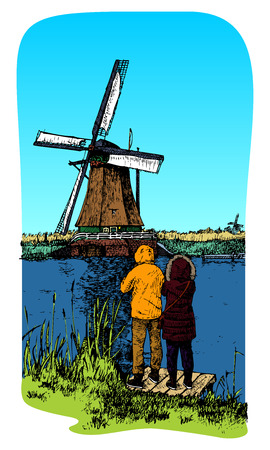A traditional windmill in Holland  Kinderdijk  Vector color illustration  Vector