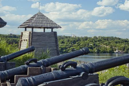 cossacks: Panorama of the Museum of Zaporizhian Cossacks  Zaporozhia, Ukraine  Focus on the tower