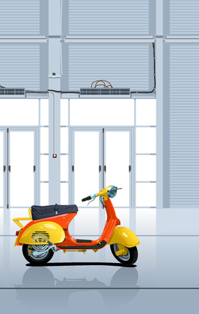 cultic: Мector illustration of the scooter in garage  Simple gradients only - no gradient mesh
