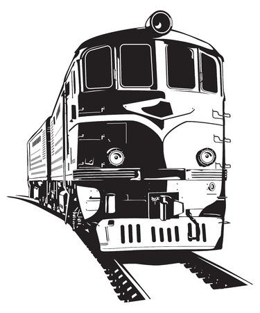 ilustración vectorial de una locomotora diesel