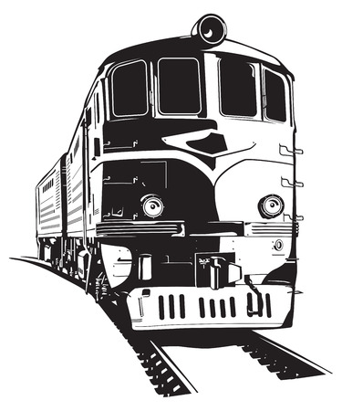 diesel train: vector illustration of a diesel locomotive