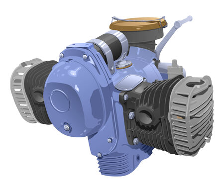 combustion: vector illustration of motocycle internal combustion engine. (Simple gradients only - no gradient mesh.)