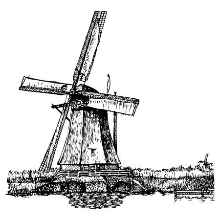 Vector illustratie van een windmolen gestileerd als graveren. Een traditionele molen in Nederland. Kinderdijk.
