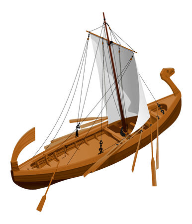 illustration of an old slavic ship Vector