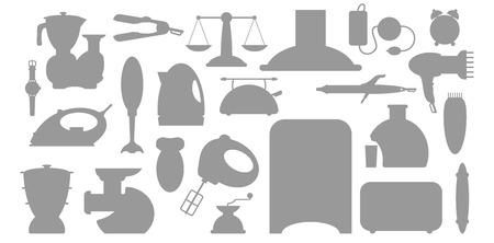 double boiler: illustration of household appliance Icons set