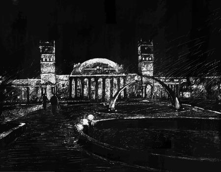 kharkov: Vector illustration imitating ink drawing  The railway station building in Kharkov, Ukraine