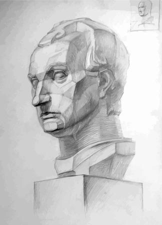 sculpt: Vector drawing imitating pencil drawing of a plaster Gattamelata's head