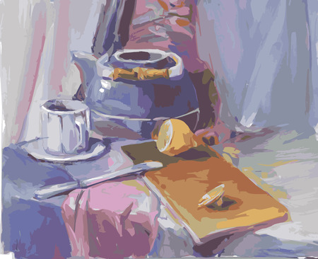 Vector still life stylized as painting  The theme of tea  向量圖像
