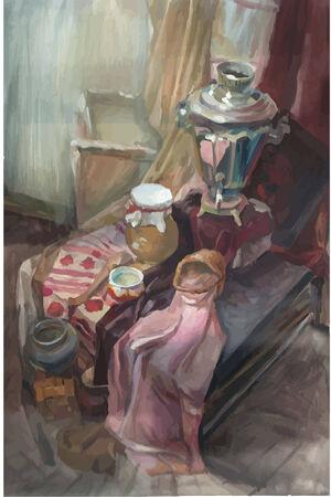 Vector still life stylized as painting  Samovar  Vector