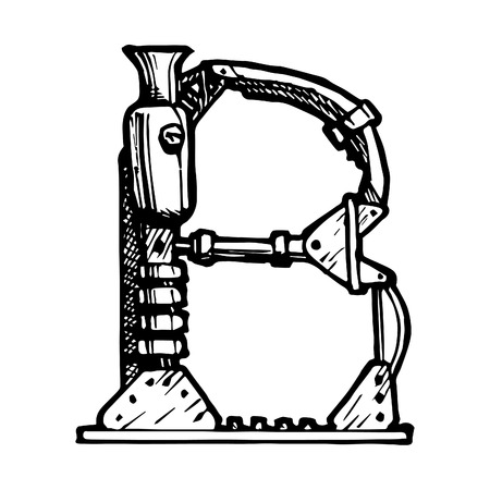 docket: steampunk letter  made of different technical pieces: pipes, blocks, screws, etc. Stylized as engraving. Letter B.
