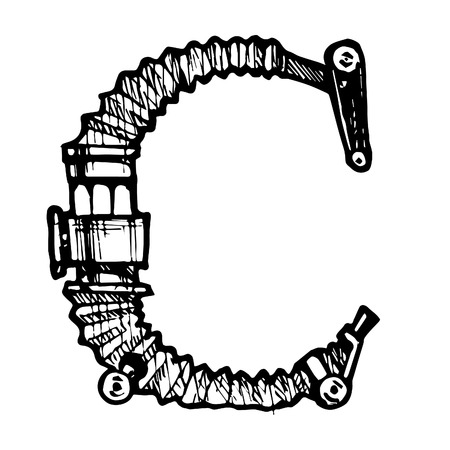 docket: Steampunk letter  made of different technical pieces: pipes, blocks, screws, etc. Stylized as engraving. Letter C.