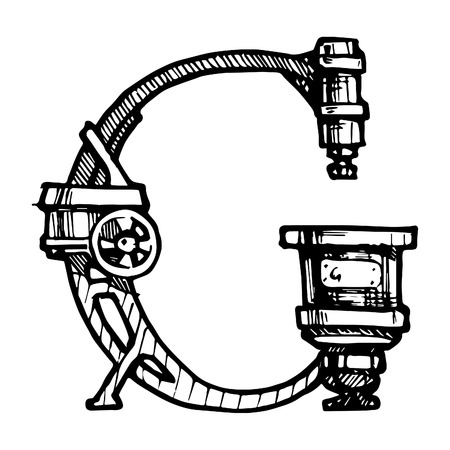 letter g: Steampunk letter  made of different technical pieces: pipes, blocks, screws, etc. Stylized as engraving. Letter G.