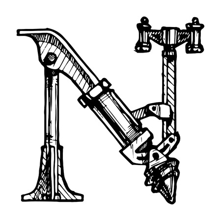 Steampunk letter  made of different technical pieces  pipes, blocks, screws, etc  Stylized as engraving  Letter N  Vector