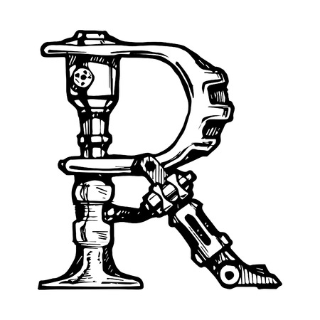 letter r: Steampunk letter  made of different technical pieces  pipes, blocks, screws, etc  Stylized as engraving  Letter R