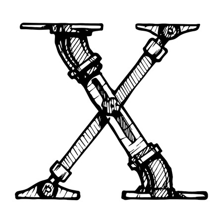 Steampunk letter  made of different technical pieces  pipes, blocks, screws, etc  Stylized as engraving  Letter X  Illustration
